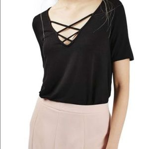 Top Shop women's Black T-shirt cross cross top